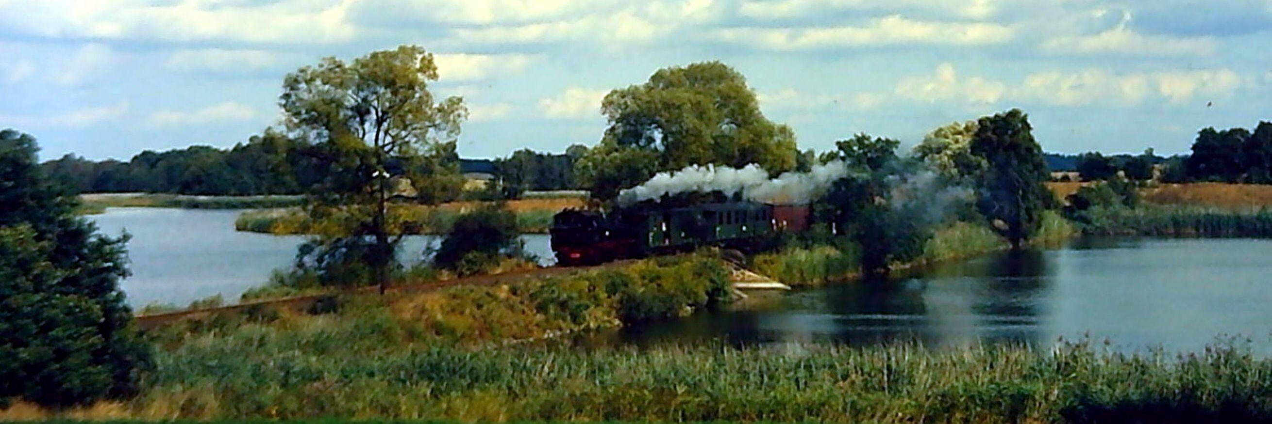 Zug der Löß´nitzgrundbahn überquert Dippelsdorfer Teich