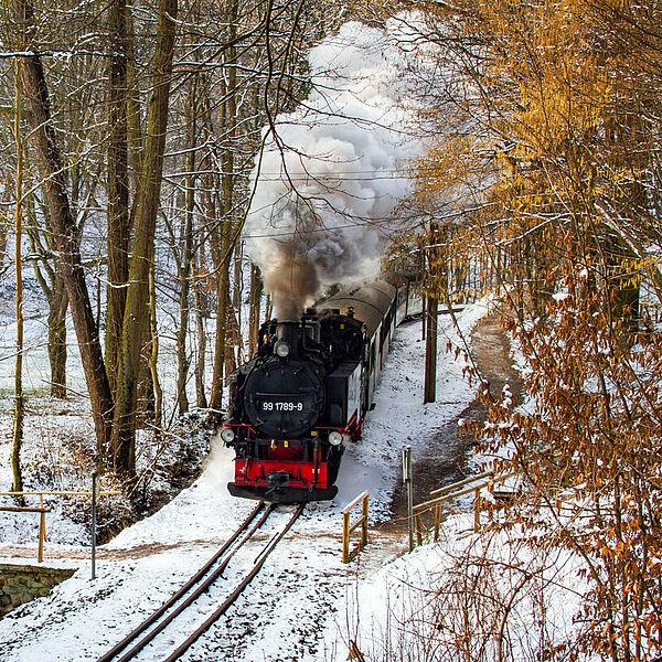Nikolausexpress bei der Lößnitzgrundbahn